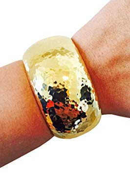 Activity Tracker Bracelet for Fitbit Flex and Other Fitness Trackers - The BRIANNA Shiny Hammered Metal Hinge Bangle Bracelet (Gold, Jawbone Up)