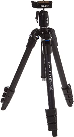 SLIK Lite AL-420S Tripod with LED Center Column Flashlight, for Mirrorless/DSLR Sony Nikon Canon Fuji Cameras and More - Black (611-592)