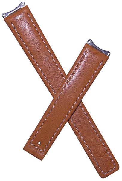 14mm Tan Genuine Leather Watchband with White Stitching to Fit TAG He