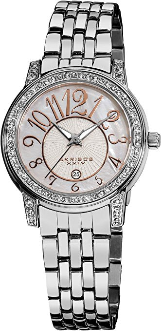 Akribos XXIV Women's AK586SS Lady Diamond Stainless Steel Sparkle Mot