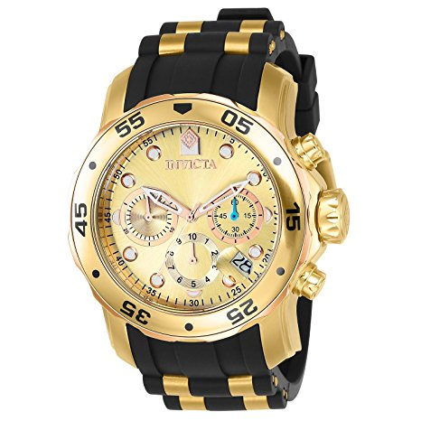 Invicta Men's 17884 Pro Diver 18k Gold Ion-Plated Stainless Steel Chr