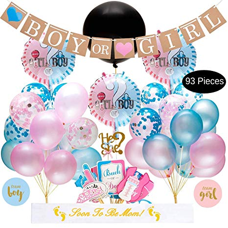 Baby Gender Reveal Party Supplies Kit - 93 Piece Baby Shower Decorations With Big Black Balloon, Cake Topper, Blue Pink Balloons, Confetti, Photo Booth Props, Boy Or Girl Banner, Gender Reveal Stickers, Baby Party Decor and Favors