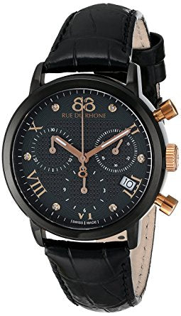 88 Rue du Rhone Men's 87WA130005 Analog Display Swiss Quartz Black Wa