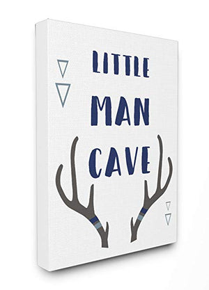 Stupell Home Décor Little Man Cave Antlers Typography Stretched Canvas Wall Art, 16 x 1.5 x 20, Proudly Made in USA