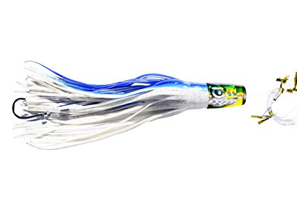 "11 in Blue /& White Fishing Lure Fully Rigged /""Dolphin Destroyer/"""
