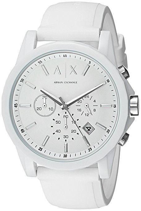 A|X Armani Exchange Men's Silvertone White Nylon With Silicone Straps