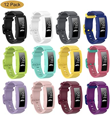 Bolesi Compatible Silicone Bands for Fitbit ace 2,Water Resistant Fitness Watch Strap for Fitbit ace 2 Bands for Kids Boys Girls(12pack)
