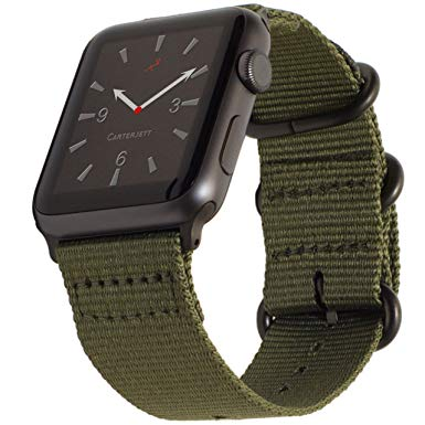 Carterjett Compatible Apple Watch Band 42mm Nylon Olive iWatch Band Replacement Strap, Durable Matte Gray Adapters NATO