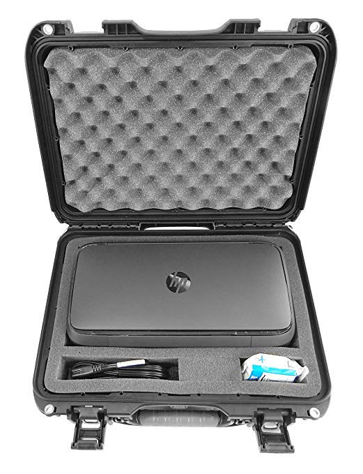 Casematix Elite Portable Printer Carry Case for HP Officejet 250 and 200 - Professionally Designed IP6x Waterproof Crushproof Travel Case for Wireless Mobile Printer, HP 62 Ink Cartridges and Cables