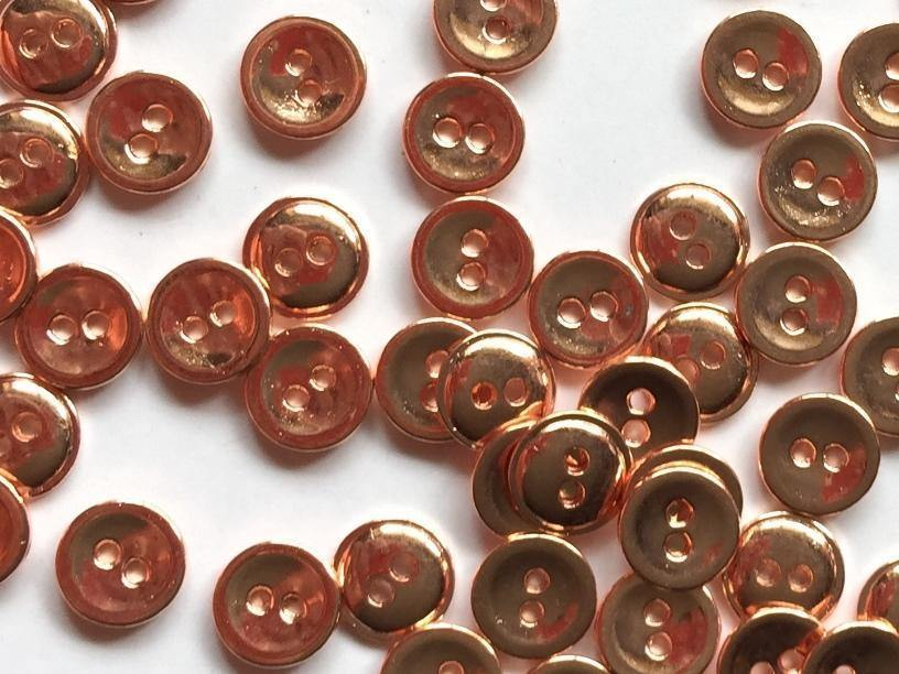 10mm - Bright Shiny Copper Metal TextileGarden Buttons & Fasteners