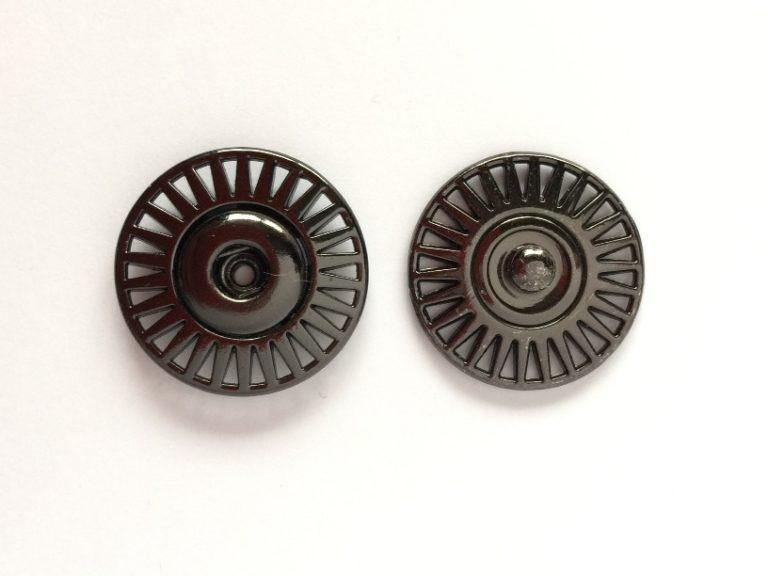 10mm - Decorative Metal Snap (sew on) Shiny Anthracite TextileGarden Buttons & Fasteners