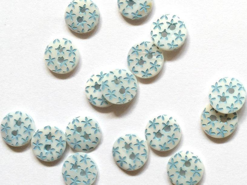 "Turquoise Stars 10mm (3/8"") Shell Buttons"