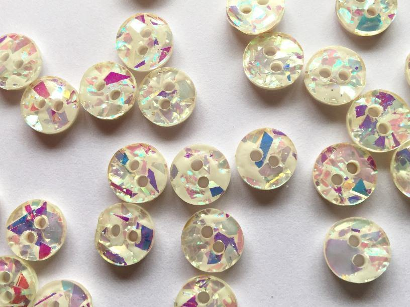 "White Sparkly 10mm (3/8"") Buttons"