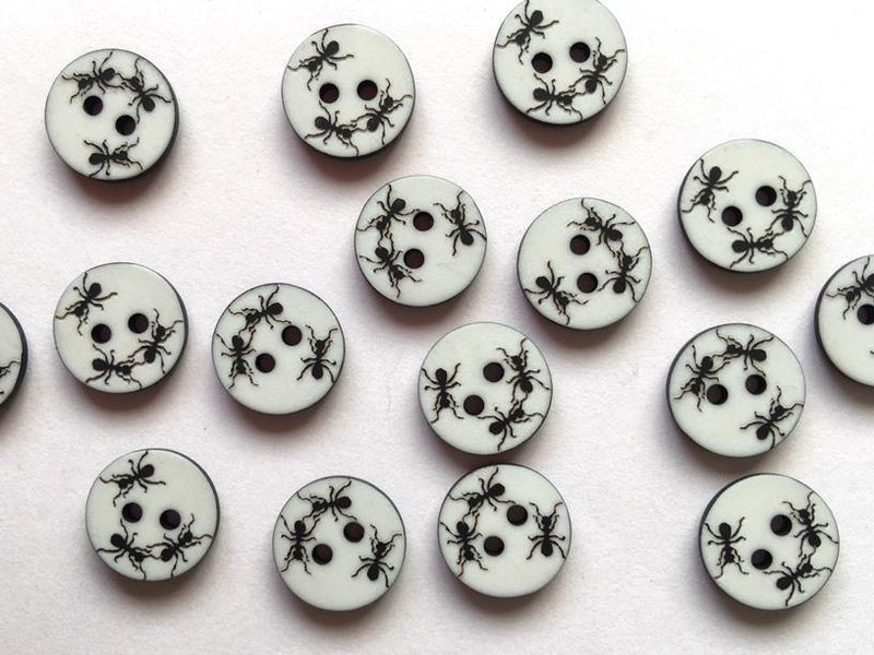 12mm - Black Ants TextileGarden Buttons & Fasteners