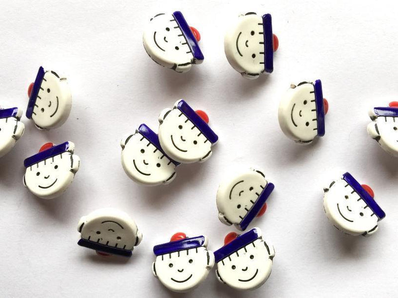 12mm - Happy Sailor Faces with PomPom Hat TextileGarden Buttons & Fasteners