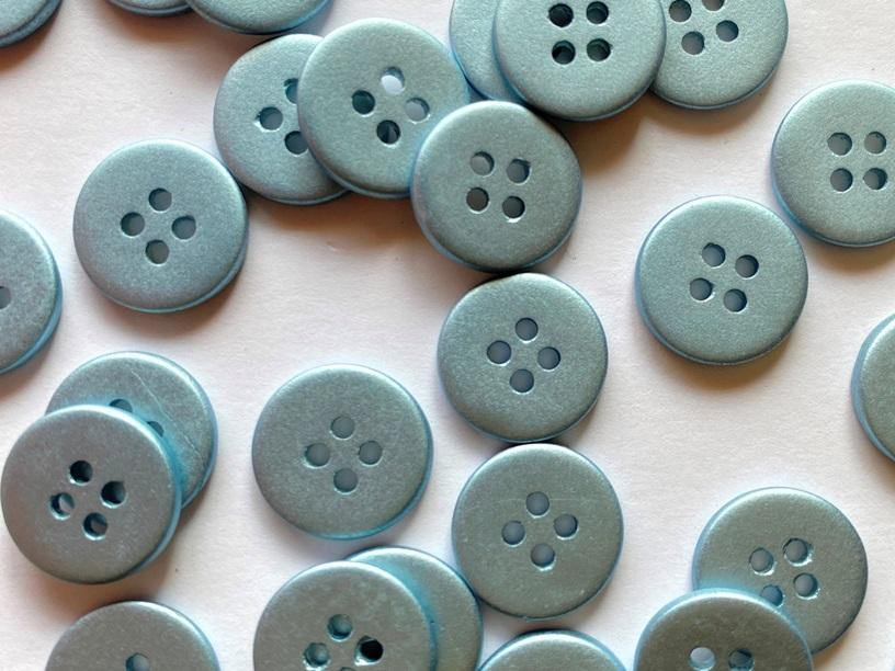 12mm - Matt Metallic Ice Aqua Shell TextileGarden Buttons & Fasteners