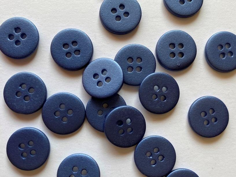 12mm - Matt Metallic Navy Shell TextileGarden Buttons & Fasteners