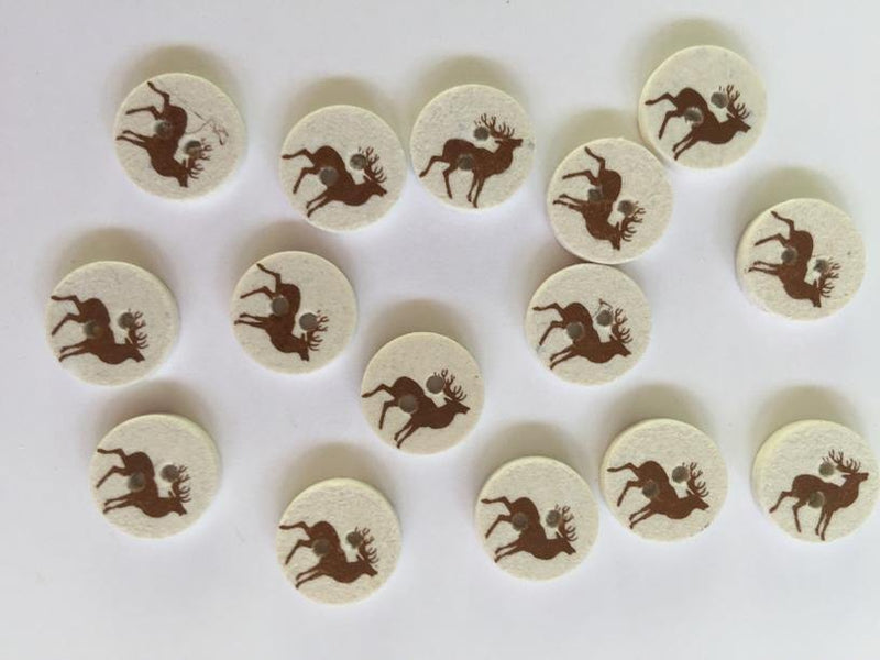 "Pale Coconut Brown Stag Deer 12mm (½"") Buttons"