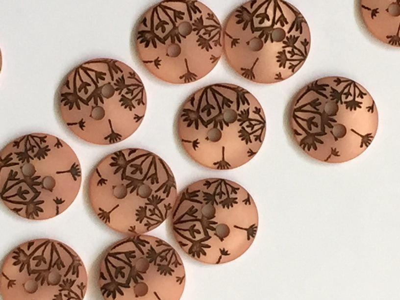 "Peach with Seed Head Dandelion Design 12mm (½"") Buttons"