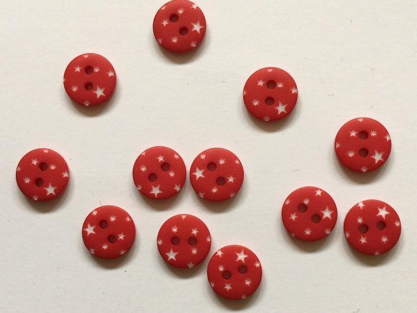 "Red with White Stars 12mm (½"") Buttons"