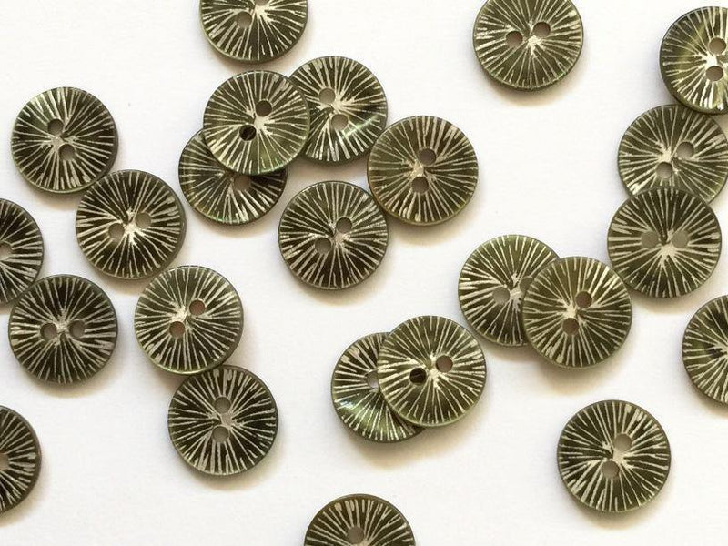 "Very Dark Green Star Burst 12mm (½"") Concave Buttons"
