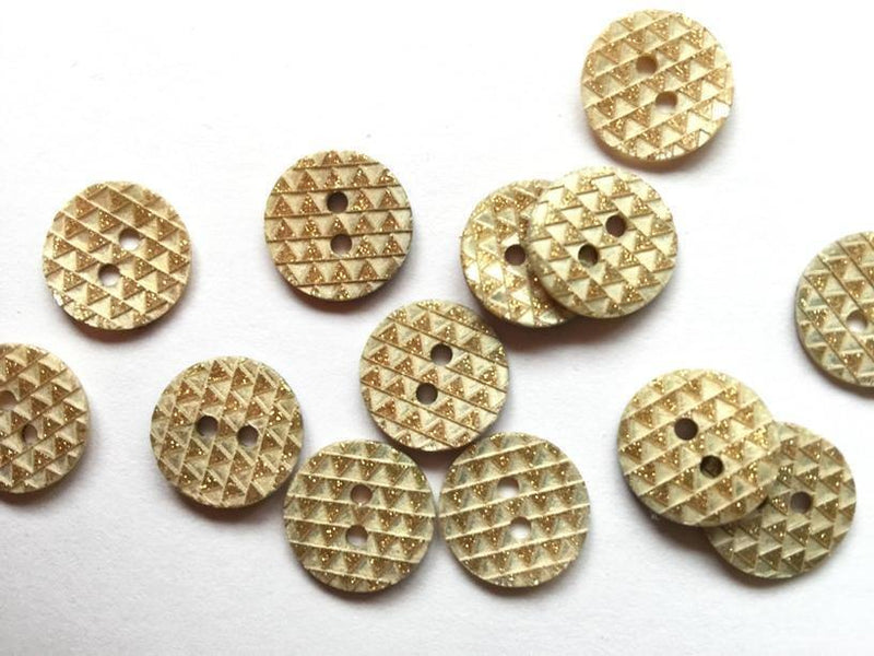 14mm - White Shell Gold Glitter TextileGarden Buttons & Fasteners