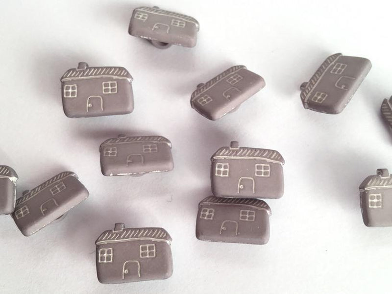 "Grey Houses / Cottages with Pale Markings 15mm (5/8"") Buttons"