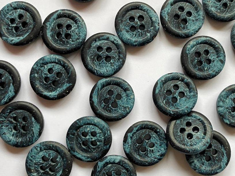 15mm - Hemp Black with Blue Marble TextileGarden Buttons & Fasteners