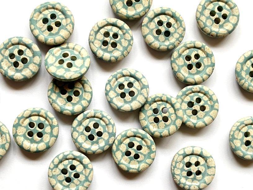 15mm - Hemp Stone with Blue Check TextileGarden Buttons & Fasteners