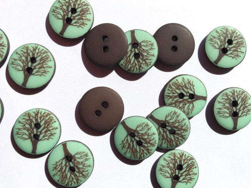 15mm - Matt Blue with Tree TextileGarden Buttons & Fasteners