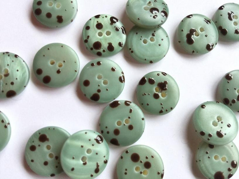 15mm - Matt Green Shell with brown speckles TextileGarden Buttons & Fasteners