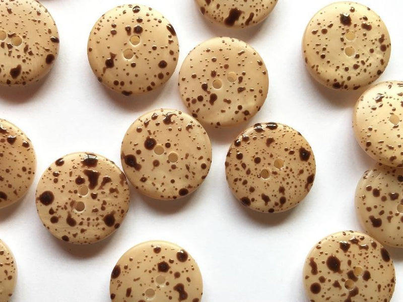 15mm - Matt Light Caramel with Brown Speckles TextileGarden Buttons & Fasteners