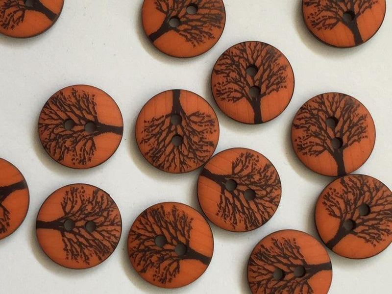 "Matt Orange with Tree 15mm (5/8"") Buttons"