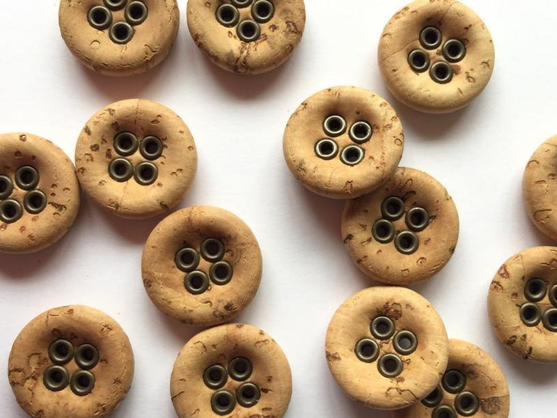 15mm - Natural Cork with Bronze Metal Rim TextileGarden Buttons & Fasteners Default Title