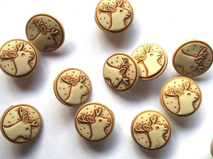 "Polyester, Stone with Stag/Deer Head 15mm (5/8"") Buttons, Festive"