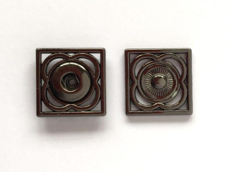 17mm - Square Decorative Metal Snap (sew on) Shiny Anthracite TextileGarden Buttons & Fasteners