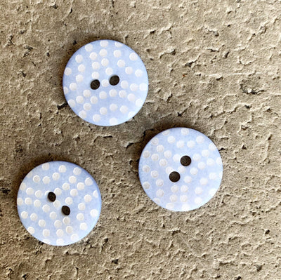 18mm - Cornflower Blue with Dots TextileGarden Buttons & Fasteners Lighter