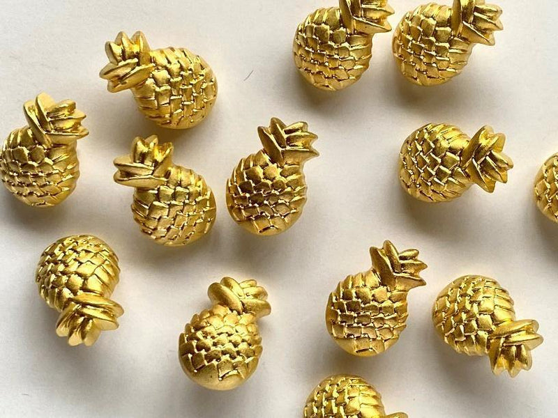18mm - Gold Metallic Pineapple Buttons TextileGarden Buttons & Fasteners