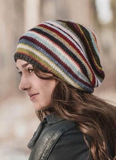 21 Colour Slouch Hat Knitting Kit Blue Sky Fibers Yarn Finished Hat