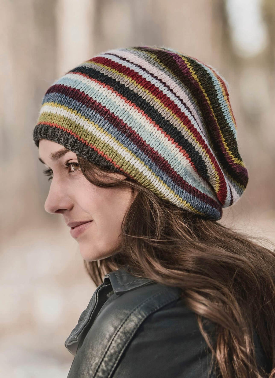 21 Colour Slouch Hat Knitting Kit Blue Sky Fibers Yarn Front-Side View