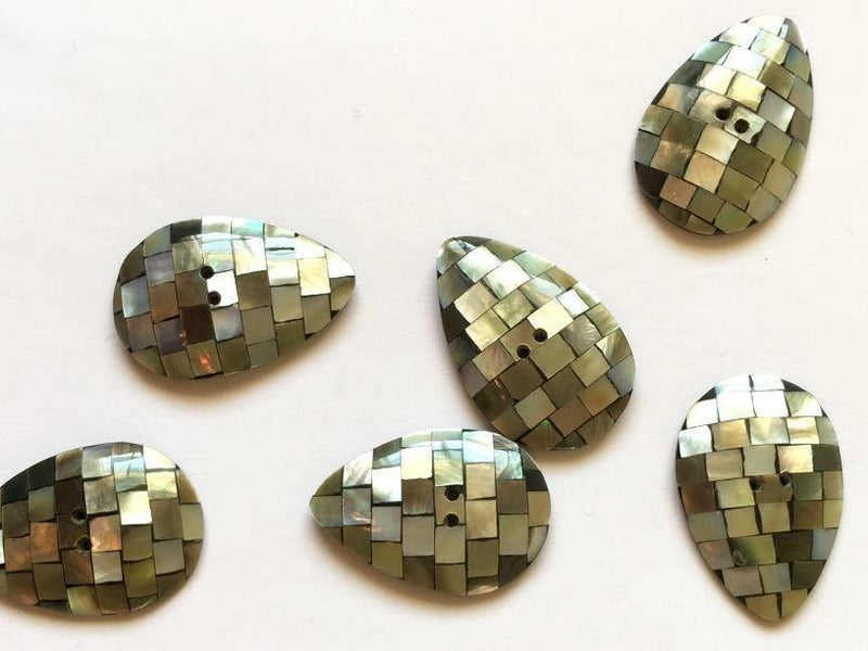 "Tear Shaped Shell Mosaic Blocks 22mm (7/8"") Buttons"