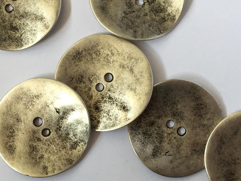 Large Metal Silvery Zinc with Uneven Surface 38mm Buttons