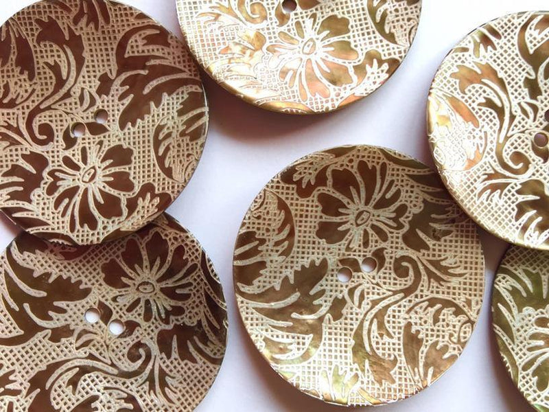 38mm - Taupe, Floral Shell TextileGarden Buttons & Fasteners