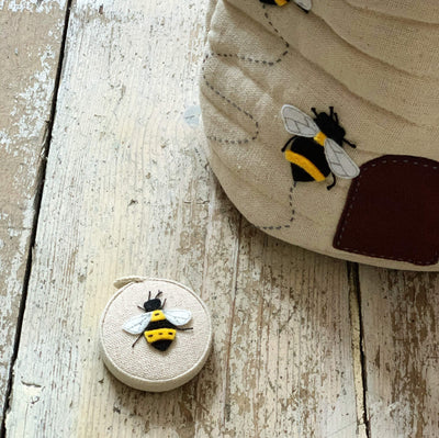 Appliqué Linen Bee Retractable Measuring Tape tribeyarns Other Stuff