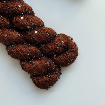 Beaded Silk and Sequins Light Artyarns Yarn 293 Belgian Chocolate Metal