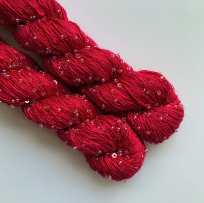 Beaded Silk and Sequins Light Artyarns Yarn 364 Rose Red Clear