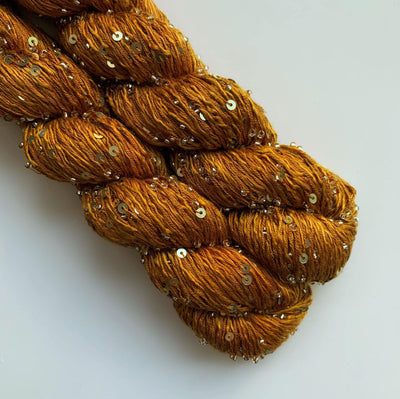 Beaded Silk and Sequins Light Artyarns Yarn 527 Teak Sea Gold