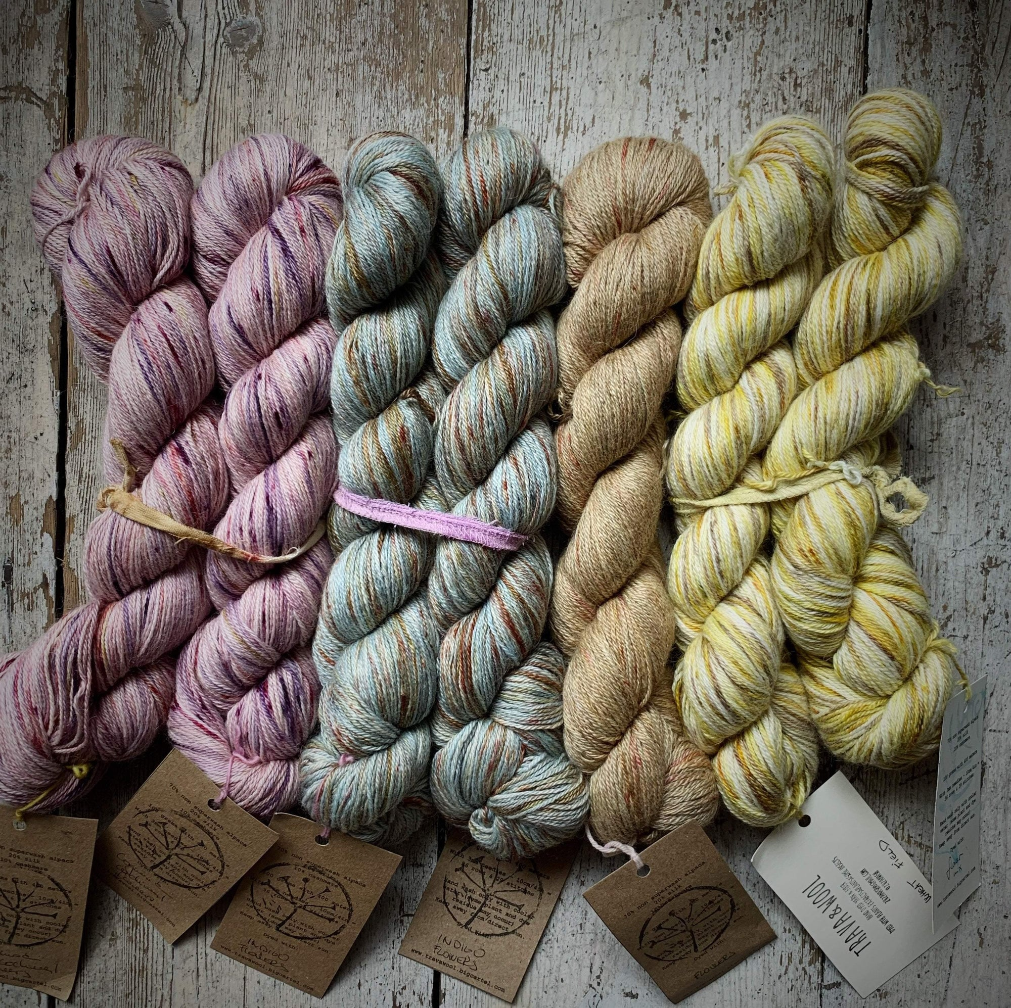 Bundle Dyed Alpaca+Silk+Cashmere Trava & Wool Yarn