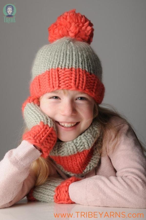 Child's Hat, Mitts & Snood Set Pattern Mrs Moon Pattern