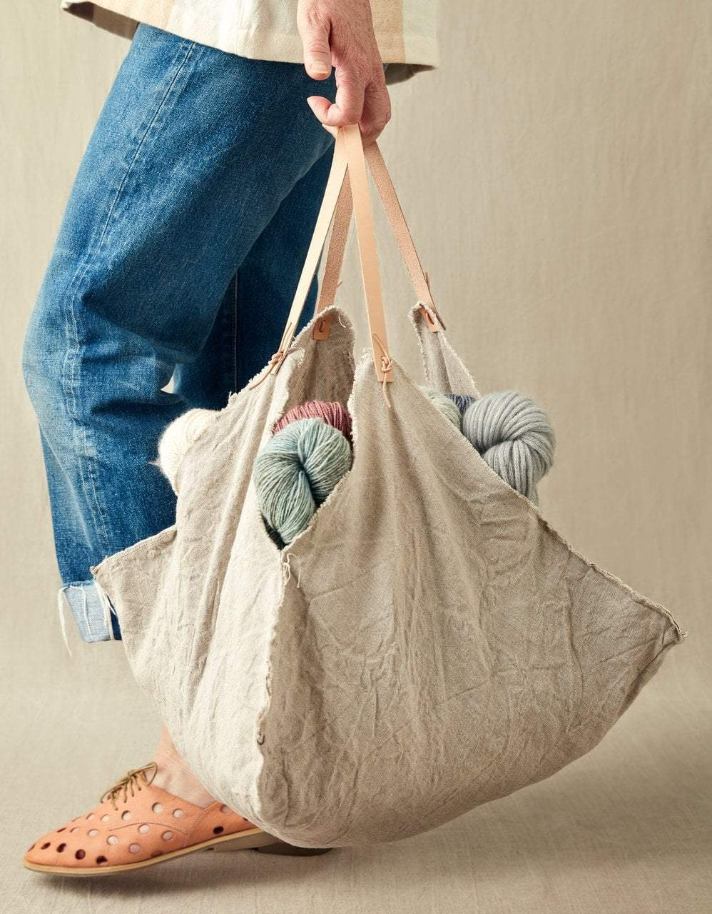 Cocoknits Rustic Linen Four Corner Bag (Large) Cocoknits Bags & Cases